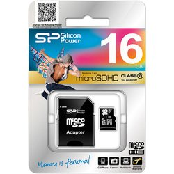 MicroSDHC 16GB Class 10 + SD адаптер  (Silicon Power SP016GBSTH010V10-SP)